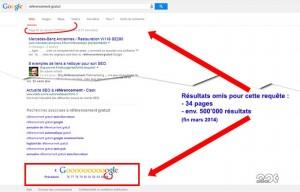 Index Primaire Google, résultats supplémentaires
